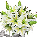 AmyHomie Artificial Flowers, Artificial Lily, Fake Flowers for Wedding