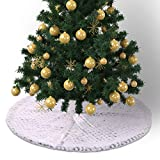 Weite Soft Fabric Christmas Tree Skirt with Two Adjustable Ties - 29.5 Inches Large Round Indoor Outdoor Mat Ornaments Xmas Party Holiday Decorations (White)