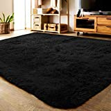 LOCHAS Ultra Soft Indoor Area Rug Shaggy Bedroom Living Room Carpets for Kids Nursery Room, 5.3 x 7.5 Feet Black