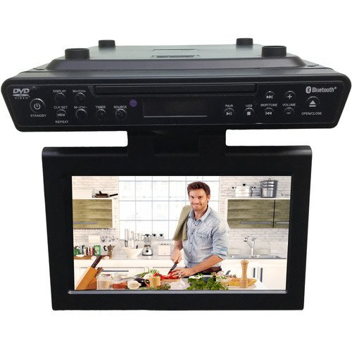 Sylvania Bluetooth Wireless Under the Counter Cabinet Kitchen LED TV/DVD Combo (Under Counter Radio Tv)
