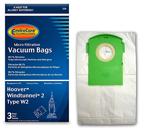 EnviroCare Replacement Micro Filtration Vacuum Bags for Hoover Type W2 WindTunnel 2 Uprights 3 - Micro Hoovers Bag