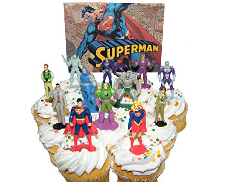 Superman Deluxe Cake Toppers Cupcake Decorations Set of 13 Figures with Supergirl, Clark Kent, Jimmy Olsen, Doomsday. Lex Luthor and Many -
