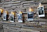 Photo Clip String Lights - LED KlipBank 20 Picture, Artwork Hanging Clips AA Battery Powered Fairy Lights (7.2ft - Warm White) For Wedding, Party, Home, Bath, Decoration, Dorm Room, Valentines