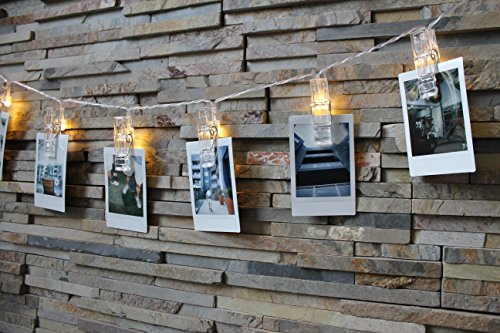 Photo Clip String Lights - LED KlipBank 20 Picture, Artwork Hanging Clips AA Battery Powered Fairy Lights (7.2ft - Warm White) For Wedding, Party, Home, Bath, Decoration, Dorm Room, Valentines (Valentines Hampers For Her)