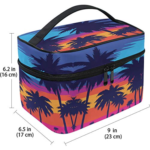 Travel Cosmetic Bag Beach Palm Trees Printed Makeup Train Case Carrying Portable Zip Travel Cosmetic Brush Bag Storage Organizer Large for Girls Women