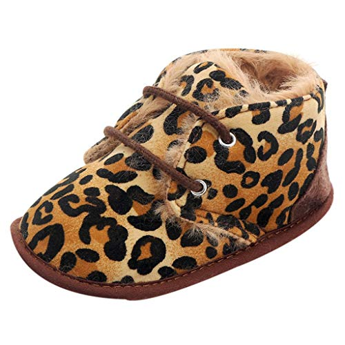 Toddler Girl Boy Baby Winter Camouflage Fur Warm Soft Sole Shoelace Crib Shoes (Leopard, 6-12Months) ()