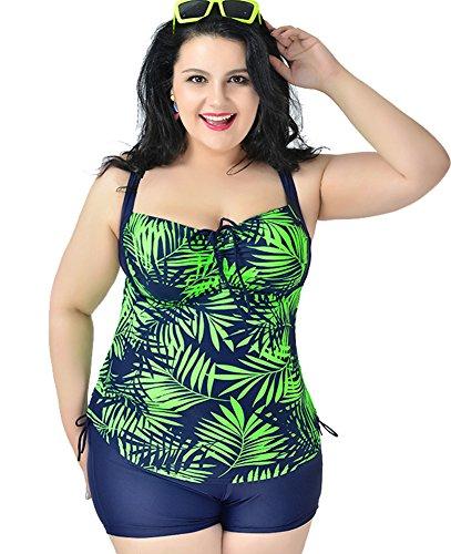 Women's Plus Size Printed 2 Pieces Tankini Top & Boyshorts Swimsuits Swimwear Emerald Green 5XL