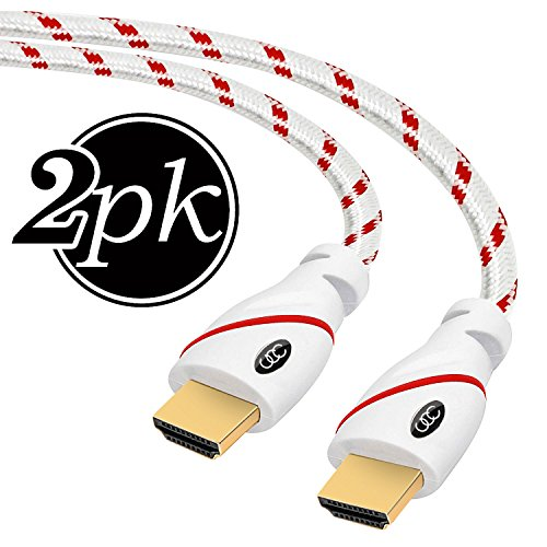 HDMI Cable - 25 FT (7.6m) 4K Resolution (2-PACK) High Speed HDMI Cable (2.0b) Supports Ethernet, Ultra HD, HDR Video, Bandwidth 18Gbps, Audio Return Channel, 25ft Braided Nylon Cord (Latest Standard) (25 Ft Hdmi Cable 2 Pack)