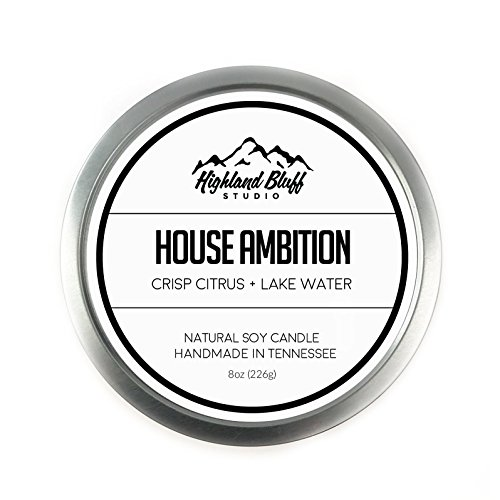 House Ambition - 8oz Soy Candle - Crisp Citrus and Lake - House Highland