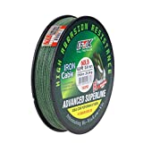 Full Time Killer Braided Super Strong Fishing Line Abrasion Resistant 4 Strands PE Line 347Yd 15-60LB Zero Stretch Small Diameter FTK (Moss Green, 327Yd 60LB)