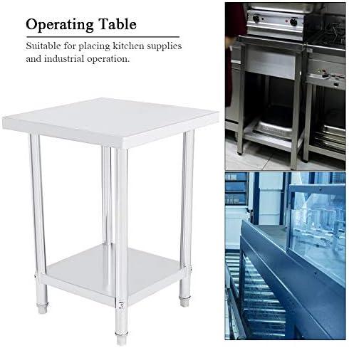 Arbeitstisch Küche aus Edelstahl, 2 Regalböden, stabile Struktur für Küche und Industrie 61X61X85CM