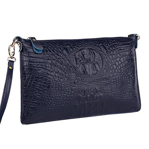 Missmay Women's Genuine Leather Purse Wristlet Floral Print Cowskin Shoulder Bag Crossbody Navy by MissMay