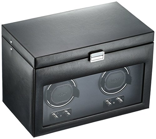 (WOLF 270402 Heritage Double Watch Winder with Cover and Storage, Black)