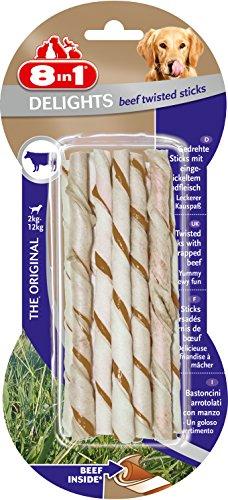 8in1 Delights Beef Twisted Sticks (gesunder Kausnack für sensible Hunde, hochwertiges gedrehtes Rindfleisch), 2er Pack, 10 Stück (2 x 55 g Beutel)