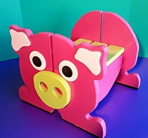 Kids Pink Pig Wooden Step Stool, Wood Step Stool For Toddlers, Bathroom  Stool,