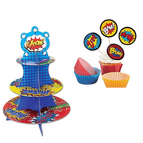 Super Hero Cupcake/Dessert Stand and Cupcake Liners with Picks -