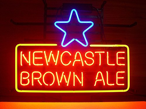 Newcastle Brown Ale Real Glass Beer Bar Pub Store Party Room Wall Windows Display Neon Signs 19x15