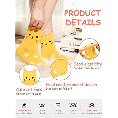 10 Pairs Cute Animal Cat Sock Cotton Casual Funny Footprint Sock for Girls Women at Amazon Women's Clothing store