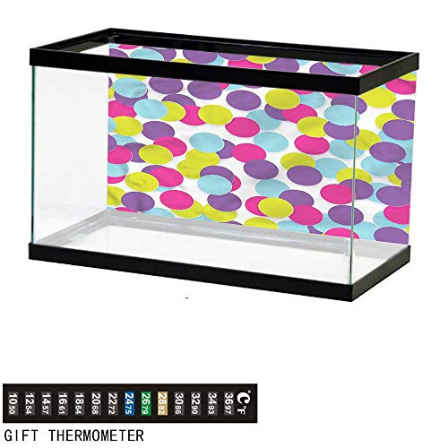 bybyhome Fish Tank Backdrop Colorful,Geometrical Modern Circle,Aquarium Background,30