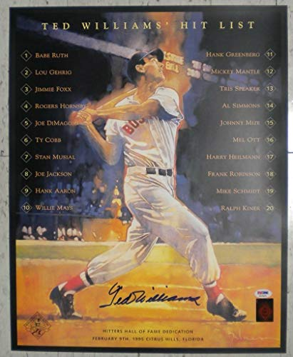 Ted Williams Red Sox Autographed Signed 16x20 Lithograph Hit List Ballgame PSA - Authentic Memorabilia