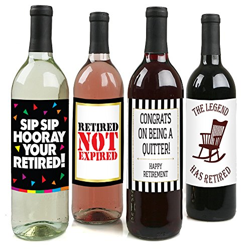 Retirement Party Wine Label Pack - Retirement Party Supplies, Gifts, and Decorations (Wine Bottle Decoration Ideas)