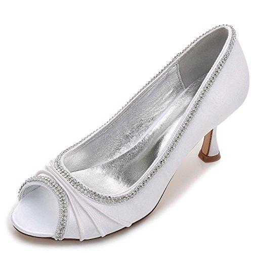 Las YC Costura de Boda de Encaje Peep Diamantes de de Mujeres Satin Zapatos L White Heel Toe P4qdxXP