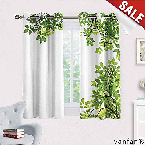 Big datastore Leaves Decor Curtains Hippie,Broad Leaves Close-up Background Garden Organic Foliage Shrubs Cells Higher Plant Image Blackout Printed for Kitchen,Green White W63 x L63