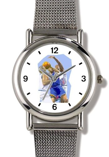 High Action Basketball Art No.3 Basketball Theme - WATCHBUDDY ELITE Chrome-Plated Metal Alloy Watch with Metal Mesh Strap-Size-Large ( Men's Size or Jumbo Women's Size ) by WatchBuddy