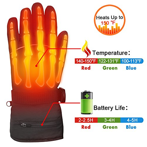 Autocastle Rechargeable Electric Heated Gloves,Battery Powered Heating Gloves,Men Women Winter Warm Thermal Gloves,Waterproof Insulated Sports&Outdoors Climbing Hiking Skiing Heated Gloves (Black, L)