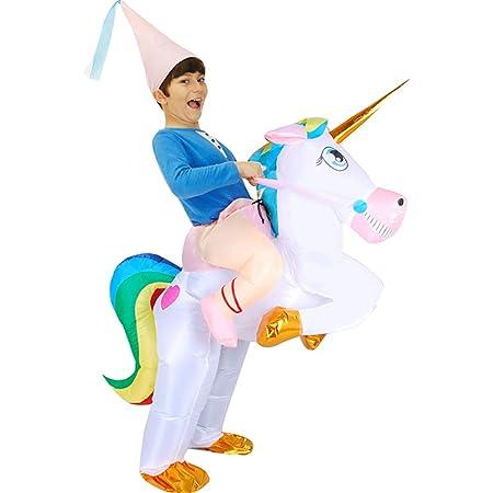 Disfraz inflable de unicornio con un sombrero para adultos y ...