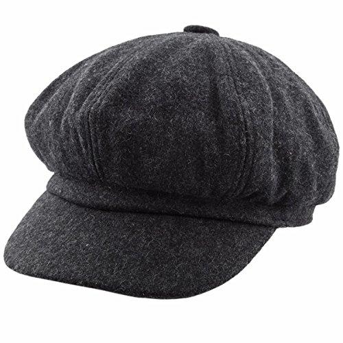 Brim Beret (Samtree newsboy Cap For Women,8 Panel IVY Cabbie Beret Visor Brim Hat(Dark Grey(Woolen)))