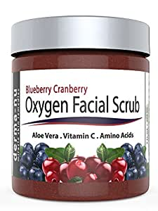 Blueberry Cranberry Oxygen Facial Scrub – Facial Exfoliator packed with Anti Aging Antioxidants for Radiant Skin. All Natural & Organic Great for All Skin Types including Dry or Sensitive. 9oz