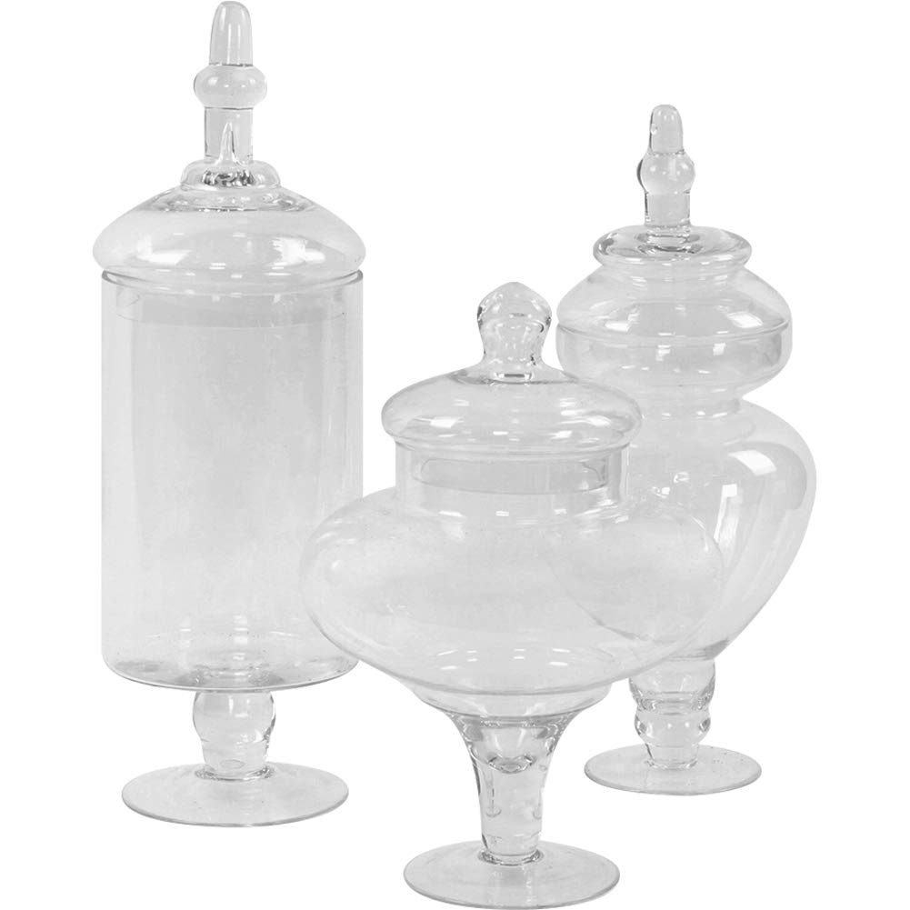Koyal Wholesale Apothecary Glass Jars, Couture, Large Canisters Set of 3, Candy Buffet Jars, Vanity Mirror Jars, Bathroom Organizer, Cookie Jar Kitchen Set