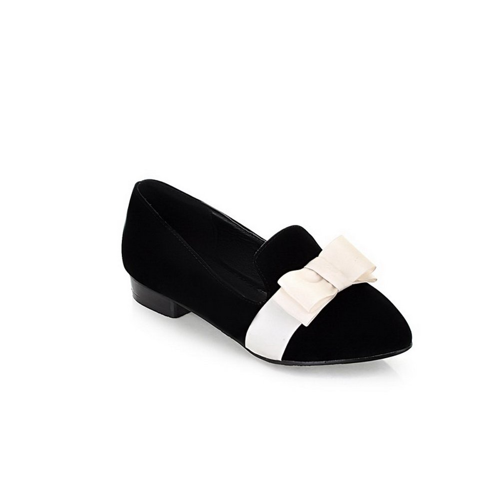 BalaMasa Ladies Two-Toned Square Heels Bows Black Urethane Loafer-Flats - 7 B(M) US
