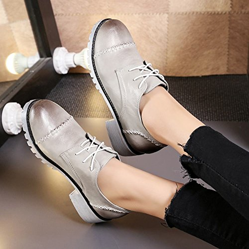 Latasa Mujeres Lace-up Chunky Heels Oxford Zapatos Gris