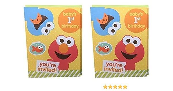 Amazon Com Sesame Street Babys 1st Birthday Party Invitations Elmo