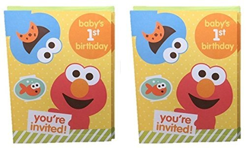 Sesame Street Babys 1st Birthday Party Invitations Elmo 10 Cards (2 Pack)