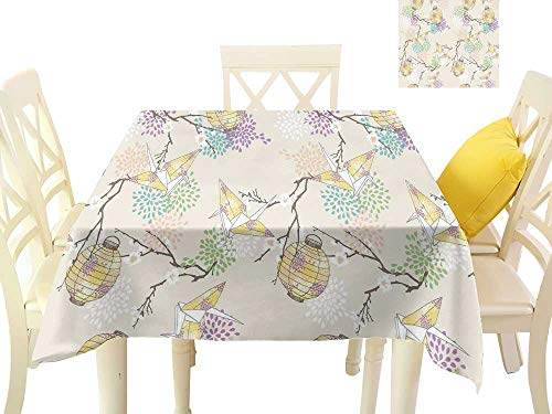 Angoueleven Lantern,Outdoor tablecloths Colorful Origami Cranes Paper Lanterns with Branches and Flowers Culture,Table in Washable Polyester W 54