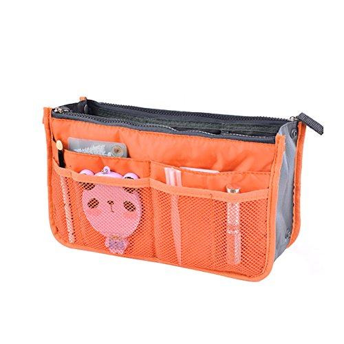 Women Travel Insert Handbag Organiser Purse Large Liner Organizer Tidy Bag-Orange