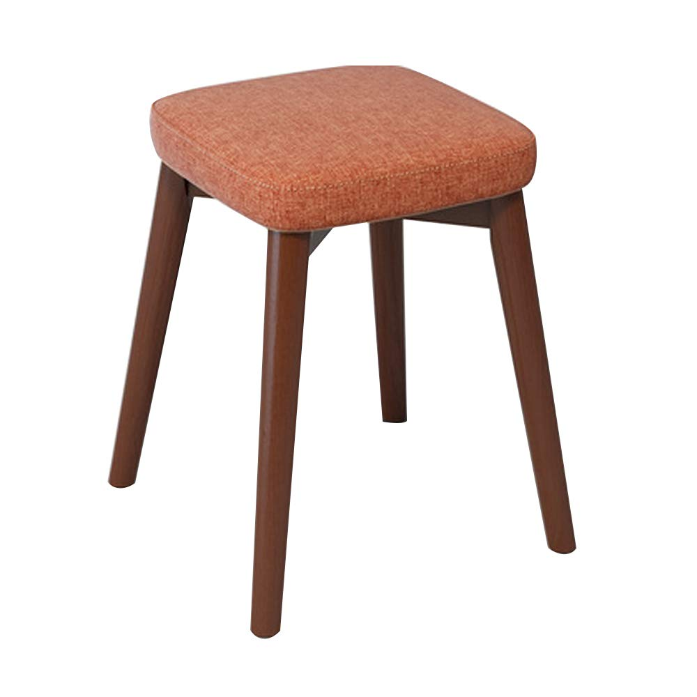 Home Dining Stool, Chair Stool Home Decor Stacking Stool Adult Small Wood Stool Living Room High Elastic Sponge Bench Upholstered Padded Stool, Solid Wood (13x13x18IN),Orange