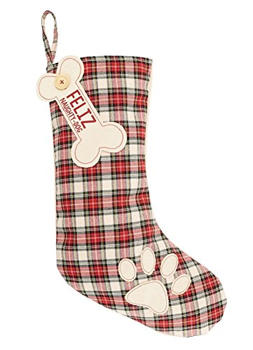 Mud Pie RED Tartan Dog (Dog Christmas Stocking)