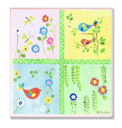 (The Kids Room by Stupell Birds, Dragonflies and Vines Square Wall Plaque)
