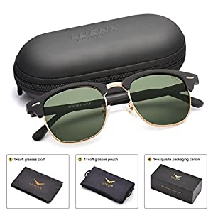 LUENX Men Women Clubmaster Polarized Sunglasses:UV 400 Protection 51MM with Case (27-grey(matte Frame)/Non-mirror, 51)