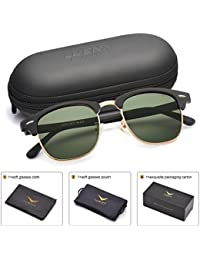 Men Women Clubmaster Polarized Sunglasses:UV 400 Protection 51MM with Case
