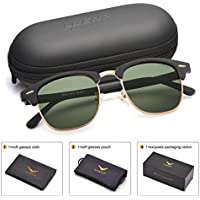 LUENX Men Clubmaster Sunglasses Polarized:UV 400 Protection 51MM with Case