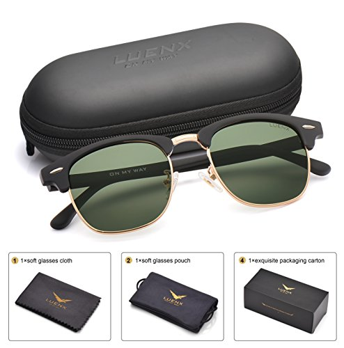 LUENX Men Women Clubmaster Polarized Sunglasses:UV 400 Protection 51MM with Case (27-grey(matte Frame)/Non-mirror, - Sunglasses Men Clubmaster Style