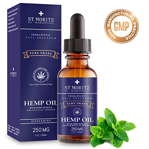 Organic Raw Hemp Extract for Better Sleep (250MG), Peppermint Flavor, Blended with Organic Hemp Seed Oil for Optimal Absorption, Lab Tested, GMP Certified, Kosher, Raw, Gluten Free, 1oz. by St Moritz