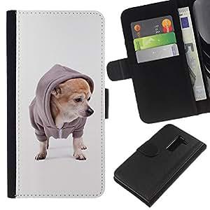 Chihuahua Fashion Dog Style Puppy - la tarjeta de Crédito Slots PU Funda de cuero Monedero caso cubierta de piel LG G2 D800