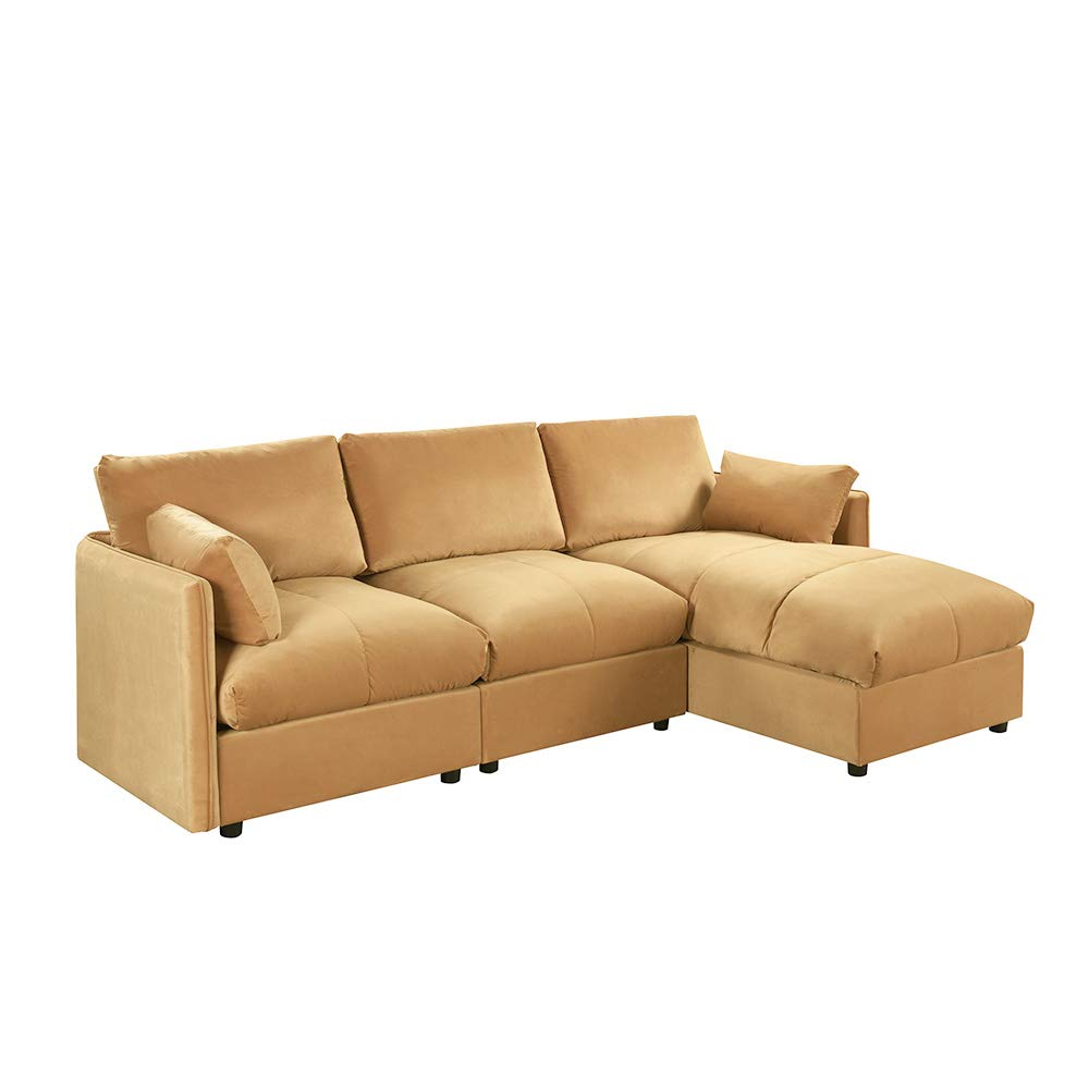 Brown Velvet Sectional Sofa Couch with Chaise Lounger, Modern Overstuffed L Shaped Plush Sofa, Velvet Fabric Sectional Sofas and Couches for Living ...