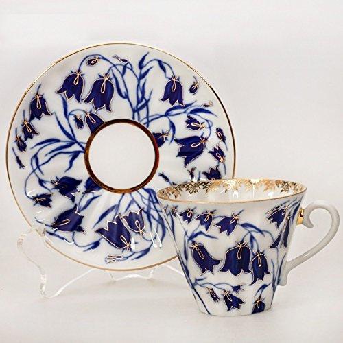 Bluebells Teacup w/ Saucer. 8 Fl Oz. 22k Gold by Imperial Porcelain Factory